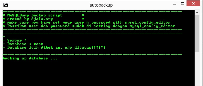 Script Automatic Backup MySQL Database Windows Dengan CMD