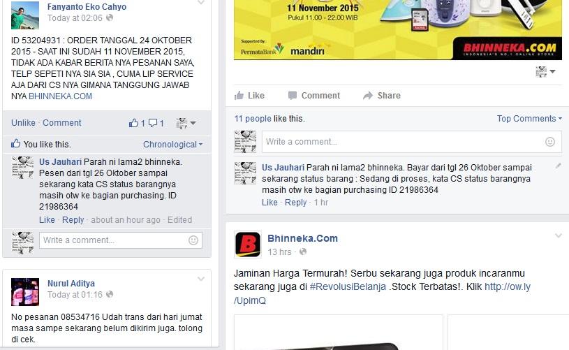 Keluahan Belanja Bhinneka.com facebook