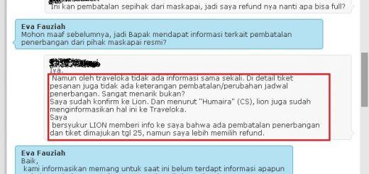 Tidak ada Pemberitahuan perubahan jadwal penerbangan traveloka