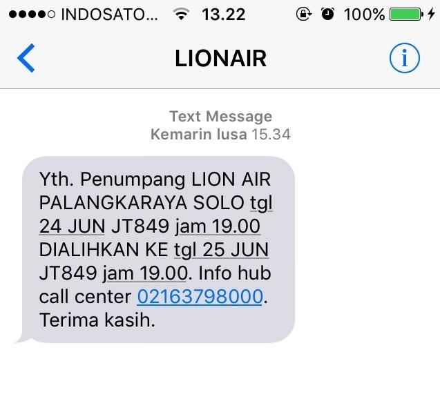SMS Pemberitahuan perubahan jadwal penerbangan traveloka dari lion air