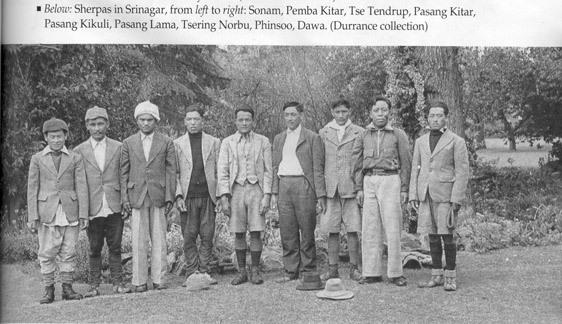 Sebagian dari Sherpa team ekspedisi Wiessner, dari kiri ke kanan : Pemba, Phinsoo, Pasang Kikuli, Pasang Kitar, Tse Tendrup dan Sonam. Tiga diantara mereka (Phinsoo, Pasang Kikuli dan Pasang Kitar) tewas saat mencoba menyelamatkan Dudley Wolfe.