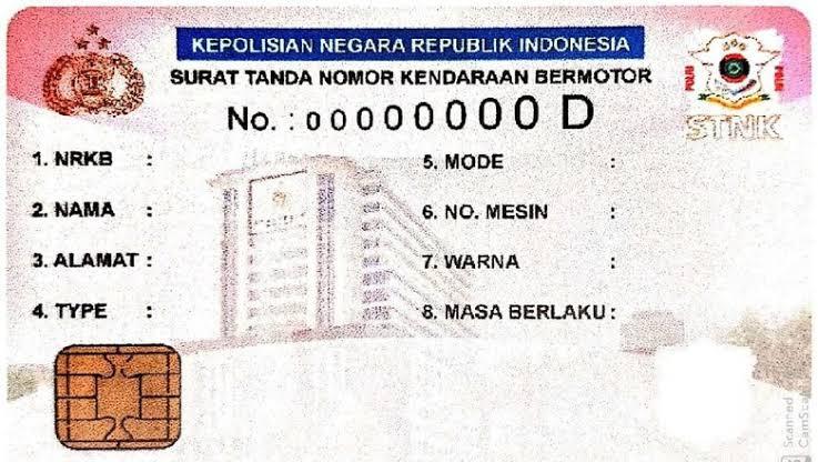 Ilustrasi bentuk kartu e-STNK