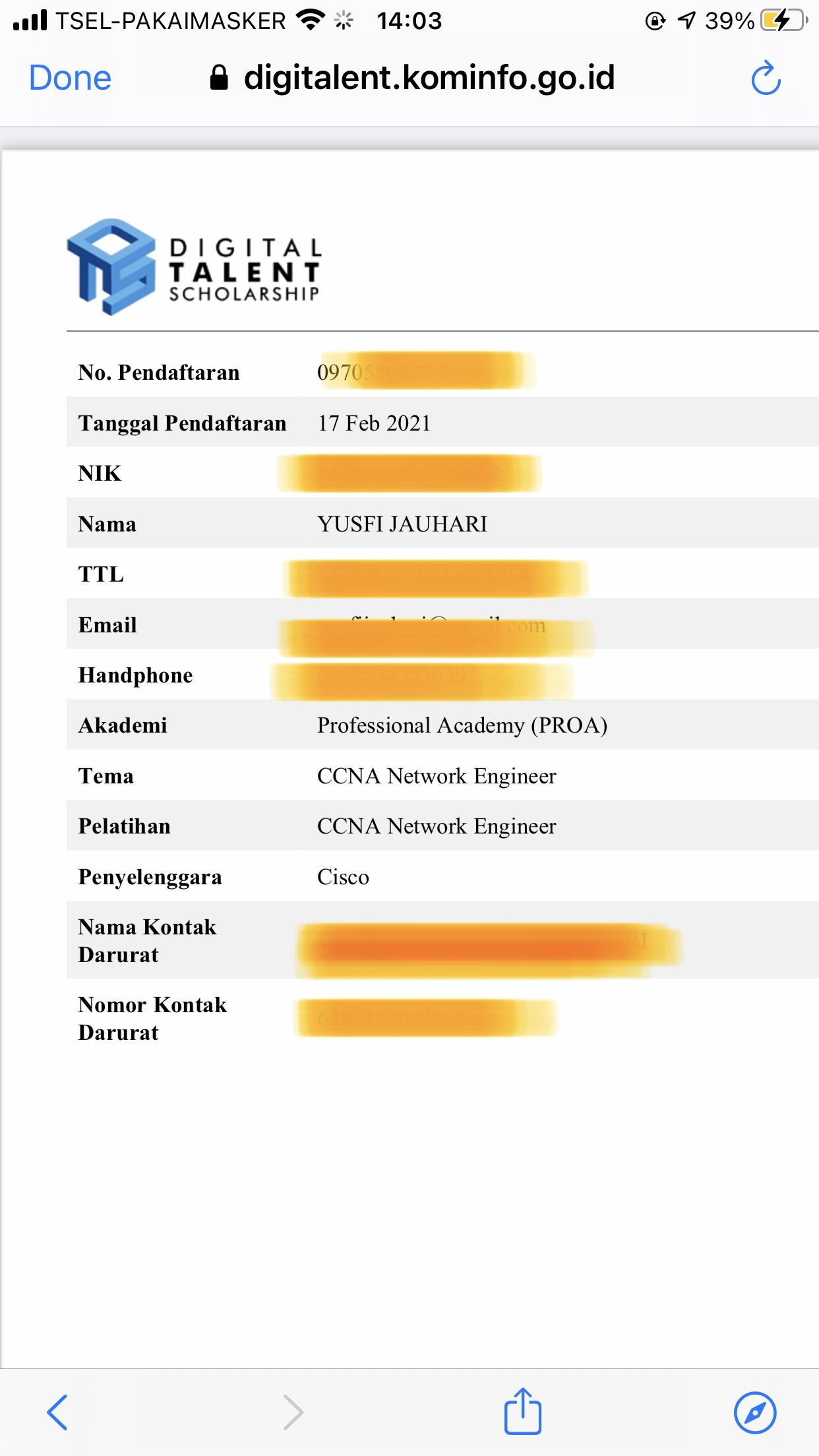 Bukti Pendaftaran Peserta Digitalent DTS PROA 2021